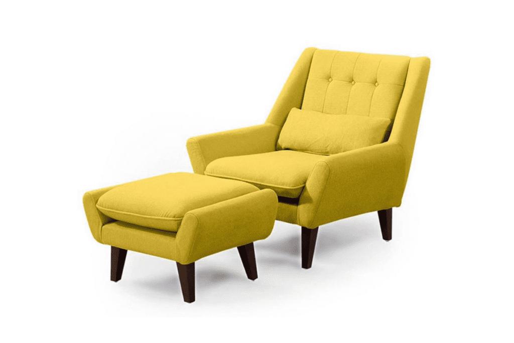Fotel do czytania z podnóżkiem