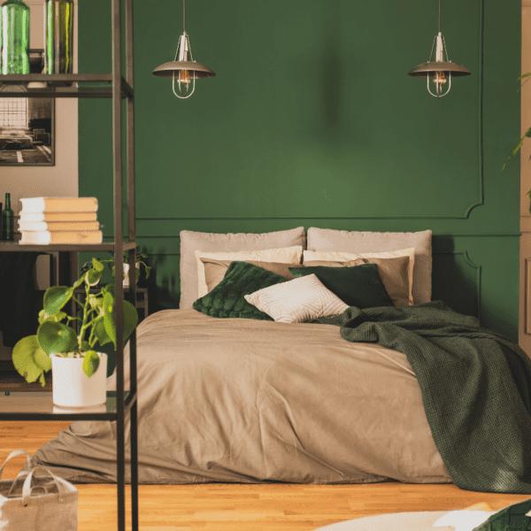 sypialnia butelkowa zieleń