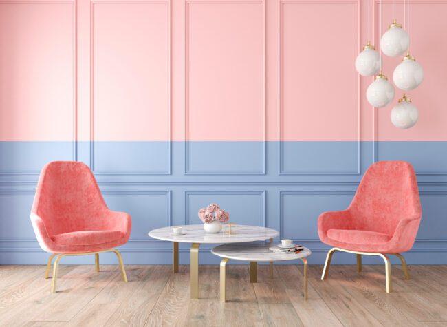 dwa kolory ścian wnętrze