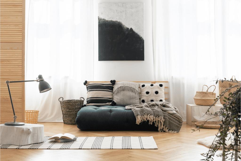 japoński futon we wnętrzach